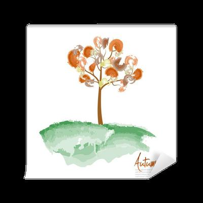 Sonbahar Ağaç Boyama Vector Illustration Duvar Resmi Pixers