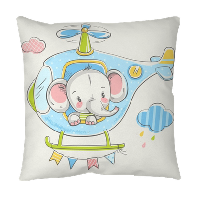 Cute Little Elephant On A Helicopter Cartoon Hand Drawn