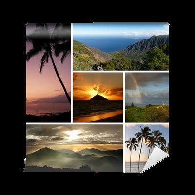 Fotobehang Meerdere Fotos.Fotobehang Hawaii Collage Met Meerdere Typische Foto S Pixers