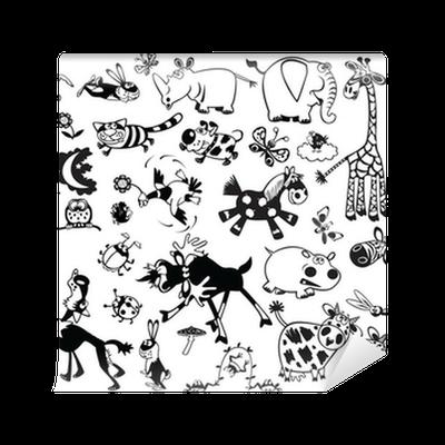 Fotomural conjunto blanco y negro con los animales de Fotomurales blanco y negro