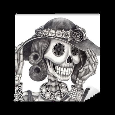 Fotomural Día Del Arte Del Cráneo De Los Deadart Diseño Mujeres