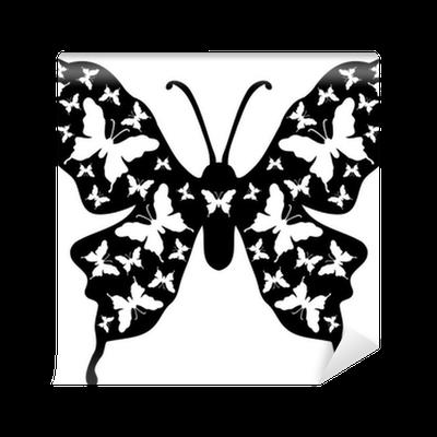 Fotomural mariposas en una mariposa grande en blanco y for Fotomurales grandes y baratos