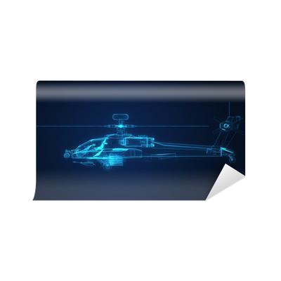 Fototapete 3D-Drahtmodell Skizze des Apache-Hubschrauber • Pixers ...