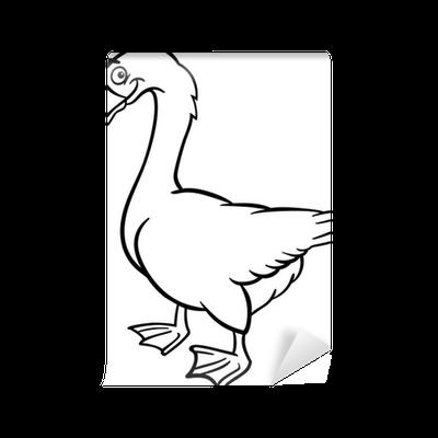 Fototapete Bauernhof Gans Cartoon für Malbuch • Pixers