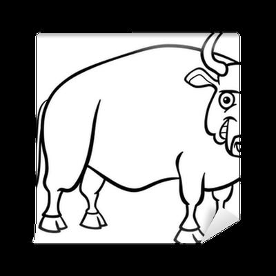 Fototapete Bauernhof Stier Cartoon für Malbuch • Pixers
