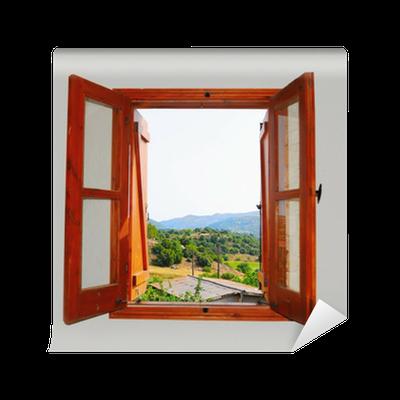 fototapete blick auf die berge aus dem fenster pixers wir leben um zu ver ndern. Black Bedroom Furniture Sets. Home Design Ideas