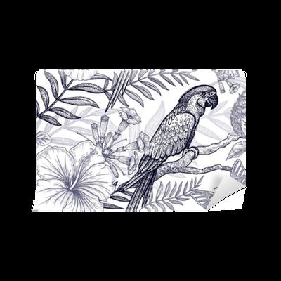 Fototapete Blumen und Vögel nahtlose Muster. Handzeichnung. Schwarz ...