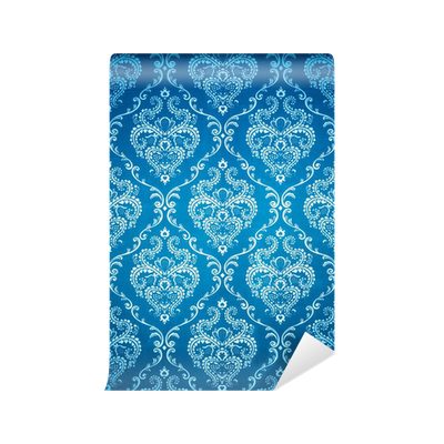 fototapete damast nahtlose blaue tapete pixers wir. Black Bedroom Furniture Sets. Home Design Ideas