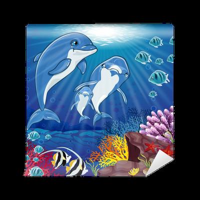 Fototapete delphin auf dem boden des meeres pixers for Boden aktionscode