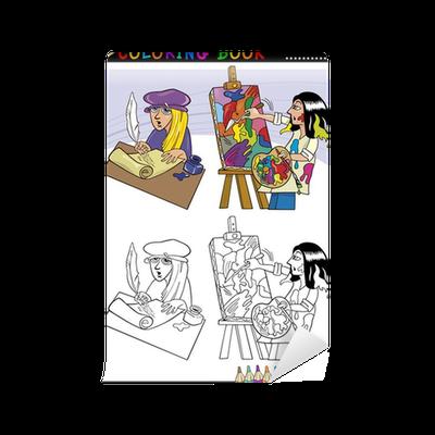 Fototapete Dichter und Maler Cartoon für Färbung • Pixers® - Wir ...