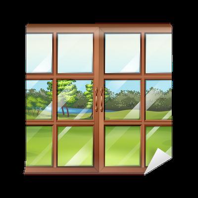 fototapete eine geschlossene holzfenster mit glas pixers wir leben um zu ver ndern. Black Bedroom Furniture Sets. Home Design Ideas