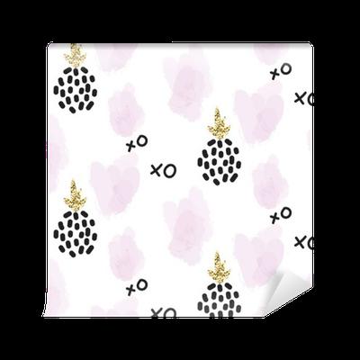 Fototapeten Glitter Skandinavisch  Xoxo Ananas Ornament Vector Gold Nahtlose Muster Sammlung Moderne Schimmer Details Und Rosa Brushstrokes Stilvolle Textur.  ...