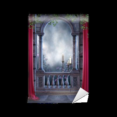 Fototapete gothic balkon mit vorhangen und kerzen o pixers for Markise balkon mit tapete gothic