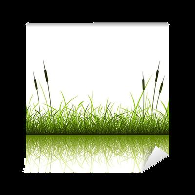 Fototapete gras und schilf mit reflexion in wasser pixers wir leben um zu ver ndern - Fliesenaufkleber gras ...