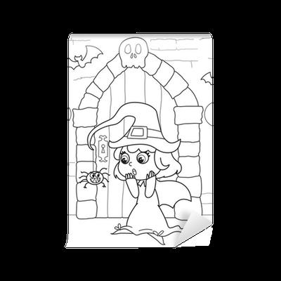 Fototapete Malvorlage Halloween kleine Hexe in gruselige Haus ...