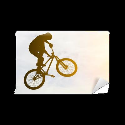 fototapete man macht einen sprung mit einem bmx fahrrad gegen sonnenschein himmel pixers. Black Bedroom Furniture Sets. Home Design Ideas