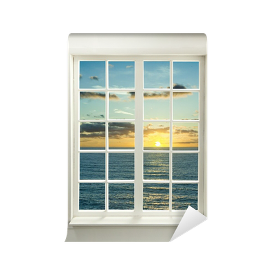 fototapete moderne wohn fenster mit sonnenuntergang ber. Black Bedroom Furniture Sets. Home Design Ideas