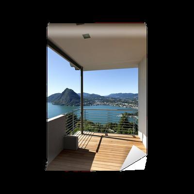 Fototapete moderne wohnung balkon see panoramablick pixers wir leben um zu ver ndern - Moderne fototapeten ...