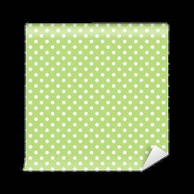 Vinyl-Fototapete Nahtlose Vektor-Muster mit Tupfen auf grünem Hintergrund