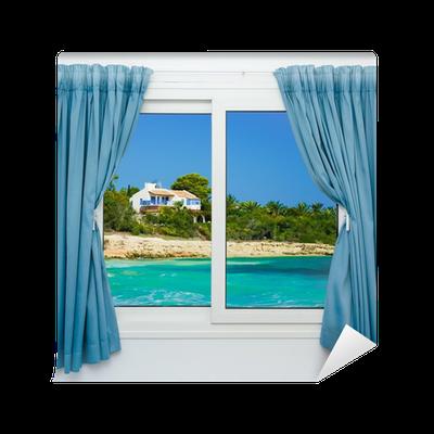 fototapete natur landschaft mit blick durch ein fenster mit vorh ngen pixers wir leben. Black Bedroom Furniture Sets. Home Design Ideas