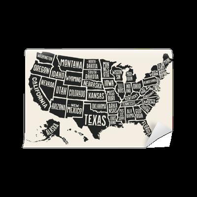 Amerika Karte Schwarz Weiß.Fototapete Plakatkarte Der Vereinigten Staaten Von Amerika Mit Staatsnamen Schwarzweiss Druckkarte Von Usa Für T Shirt Plakat Oder Geographische