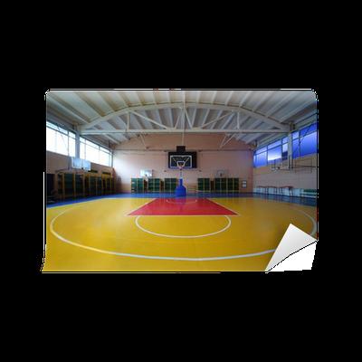 Fototapete schule turnhalle mit rot gelbem boden und korb for Boden aktionscode