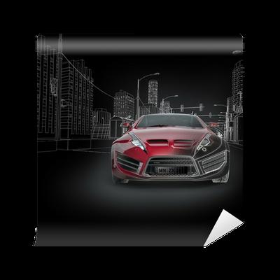 Fototapete Sportwagen Blaupause. Original Auto-Design. • Pixers ...