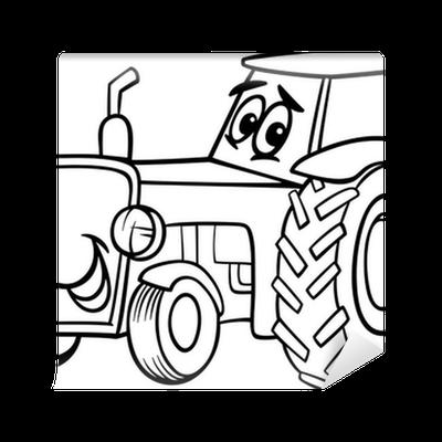 Fototapete Traktor Cartoon Für Malbuch Pixers Wir Leben Um Zu
