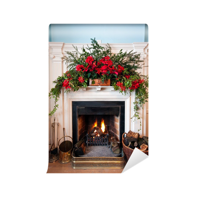 fototapete wundersch n dekoriert kamin mit brennenden. Black Bedroom Furniture Sets. Home Design Ideas