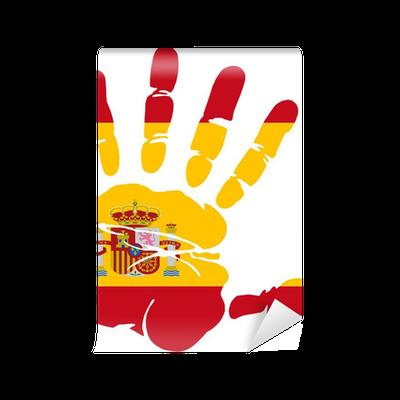 Fototapet Handtryck Av Spaniens Flagga Farger Pixers Vi Lever For Forandring