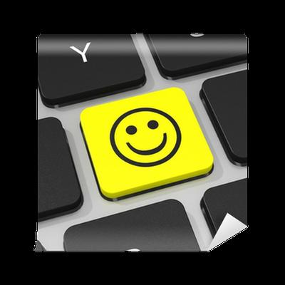Fototapet Leende man tangent på tangentbordet för bärbar dator. • Pixers® - Vi  lever för förändring cd6988fddf29b