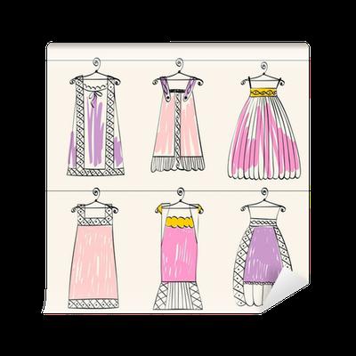 b4d78d3f29a8 Fototapet Vektor fashionabla vackra kläder för små flickor • Pixers® - Vi  lever för förändring