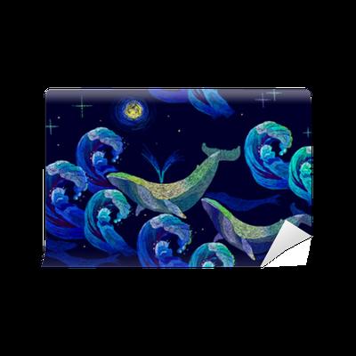 Fototapeta Vyšívací velryby bezešvé vzor. modré velryby plavou noční moře.  klasické umělecké vyšívání 4f32a66744