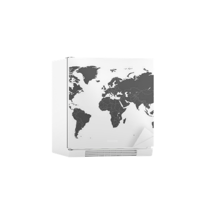 Blank Grey Political World Map Isolated On White Background