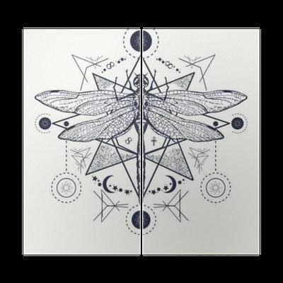 Yusufçuk Dövme Elle çizilmiş Mistik Semboller Ve Böcekler Iki