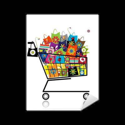 b1c03d829 Pixerstick-klistremerke Supermarked handlevogn med handbags til design •  Pixers® - Vi lever for forandring