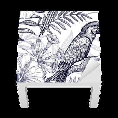 Lack-Tischaufkleber Blumen und Vögel nahtlose Muster. Handzeichnung ...