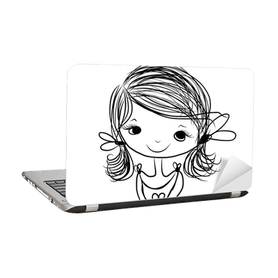 Cute Girl Smiling Sketch For Your Design Laptop Sticker Pixers We Live To Change