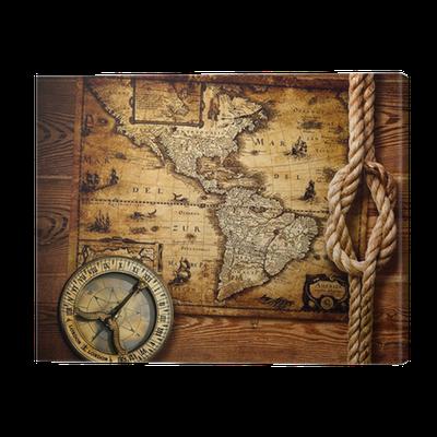 leinwandbild alte kompass und vintage karten pixers wir leben um zu ver ndern. Black Bedroom Furniture Sets. Home Design Ideas