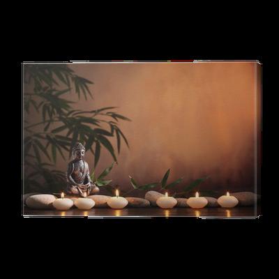 leinwandbild buddha mit brennender kerze und bambus pixers wir leben um zu ver ndern. Black Bedroom Furniture Sets. Home Design Ideas