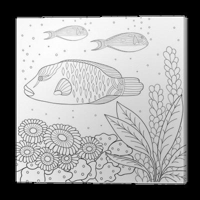 Leinwandbild Doodle Muster in schwarz und weiß. Marine-Muster für ...