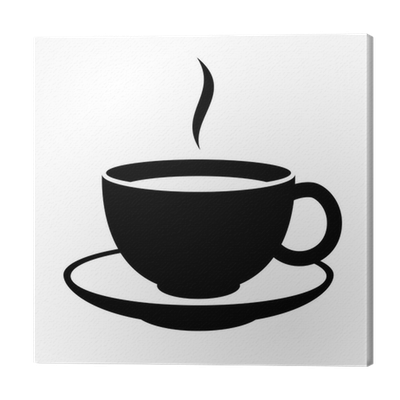 Leinwandbild einfache kaffee oder tee cup symbol schwarze for Einfache leinwandbilder