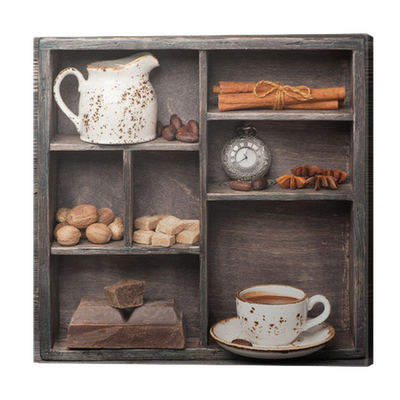 leinwandbild hei e schokolade und gew rzen vintage satz. Black Bedroom Furniture Sets. Home Design Ideas