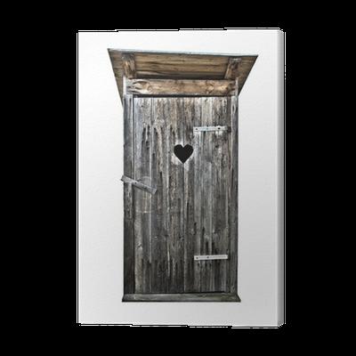 leinwandbild kleine toilette aus holz im freien isoliert. Black Bedroom Furniture Sets. Home Design Ideas