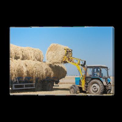 Gemeinsame Leinwandbild Landwirtschaft Werke - Traktor Lade Heu Ballen auf #AC_02