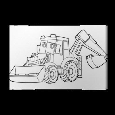 leinwandbild malvorlage - bagger - illustration für die