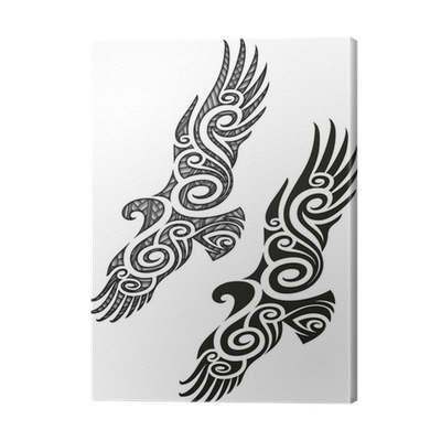 leinwandbild maori tattoo muster adler pixers wir. Black Bedroom Furniture Sets. Home Design Ideas