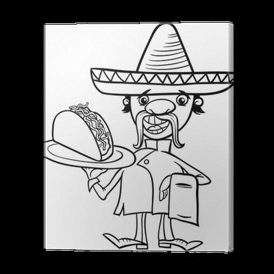 Leinwandbild Mexikanische Küchenchef mit Taco Malvorlagen • Pixers ...
