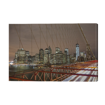 leinwandbild new york city night skyline von brooklyn bridge pixers wir leben um zu ver ndern. Black Bedroom Furniture Sets. Home Design Ideas