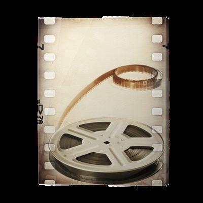 leinwandbild old film filmrolle mit film streifen vintage. Black Bedroom Furniture Sets. Home Design Ideas